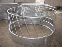 Galvanized or powder coated hay bale cattle feeder