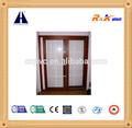Cor de madeira laminada pvc 80 série porta de correr, vidros duplos com grades da porta deslizante