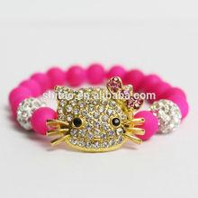 Hello Kitty with Shamballa Ball Beaded Stretch bracelet STBR78