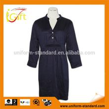 summer wear ladies slim dark long dress blouses