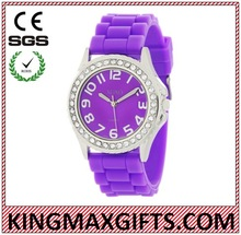 silicone strap jelly lover watch with diamond