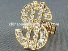 Fashion Rhinestone Money Metal Adjustable Ring