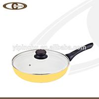 New Yellow Metallic Paint Aluminium Ceramic Frying Pan