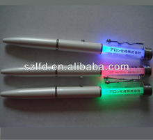 Hot Selling Slim squiggle clip pen ,custom logo printed led flashight pen , led glowing slim ballpen