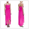 China fornecedores de roupas, alto- baixo maxi vestido em rosa quente, vestidos para adolescentes( ylq03347)