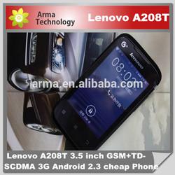 New Original 100% Lenovo A208T 3.5 inch GSM+TD-SCDMA 3G Android 2.3 cheap lenovo a208t smart phone