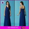 EDE059 Royal Blue Long Spaghetti Strap Chiffon Evening Dresses for Girls 12 Years