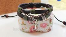 Cross charm Christian Leather Bracelets