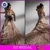 EDW248 Elegant Sweetheart Neckline Ruffle Multi Layer Taffeta Champagne Colored Wedding Dresses