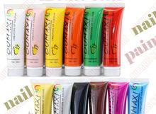 12 Colors Pro Acrylic Paint Nail Art Polish 3D Paint Decor Design Tips Tube Set #31120