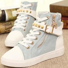 SF1004 2014 New Style Canvas Shoes Korean Side Zipper Belt Buckle High Upper Leisure Flat Shoes
