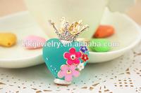 fashion sparkling plastic crown heart keychain