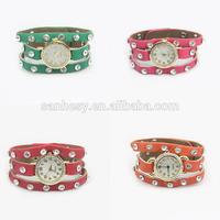 2014 Women Leather bracelet watch Jewelries