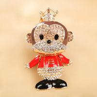 Fashion High quality Crystal beaded charm cute Animal Monkey keychain MCA-0271