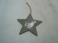wooden star hanger christmas decoration