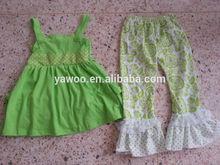 2014childrens newborn baby girls summer back ruffles top dress capris/pants cute design girls belt green outfits clothing sets