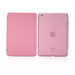 Ultra thin triple folding stand smart leather case for IPAD MINI With transparent hard shell