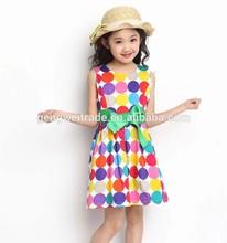 Fashion teen girl's dress,colorful polka dot designs,2014 summer