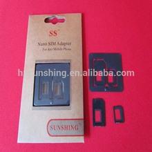 2 Adapters Nano SIM & Micro SIM & Standard SIM card adapters for iPhone 5 4S Black