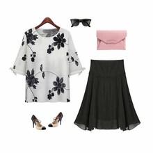 N29025 lastest midi sleeve flower t-shirt popular ladies skirts fashion women t-shirts