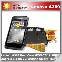 Original 4.0 inch Lenovo A369 3G WCDMA Dual Core phone Android MTK6572 1.3Gh 2.0MP 1500mAH Mobile Phone