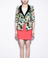 women's flower of new fund of 2013 autumn winters Europe and the United States fold show thin suit jackets