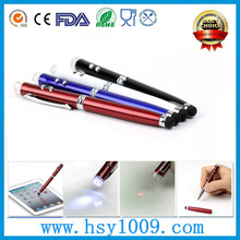 business gift 4 in 1 stylus pen with LED torch light laser point screen touch and ball pen