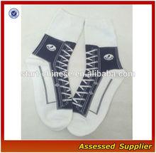 Hot Sale Fashion Women High Top Sneaker Socks/ Cute and funky women's novelty socks with converse