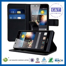 C&T 2014 wallet stand flip leather slim case for huawei ascend p6