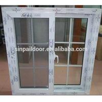 plastic pvc reception single glass big grill vertical sliding window
