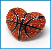 hot sale sports orange basketball in heart crystals ball stretch ring