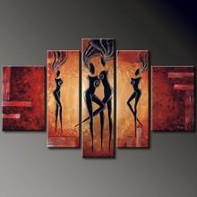 5 panels handmade female body oil painting