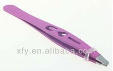 "New 3.5"" Eyebrow Tweezers SLANTED Precision Tip PURPLE w/ 3 HOLE HEART Design"