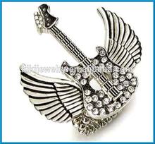 vintage antique silver angel wing shape elastic stud rock star stretch ring