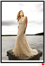 Sexy deep V-neckline and open back champagne lace Appealing Beach Wedding Dress GL013
