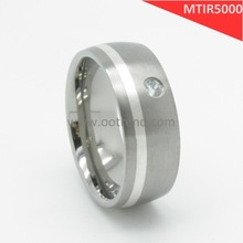 2014new product best price titanium ring,gold flace surface men's ring of inlay stone tianium ring