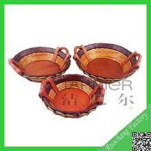 High quality fashionable wicker woven round tray,miniature wicker baskets,wicker basket trays