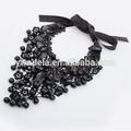 caliente venta cuello de encaje negro con collar de cuentas