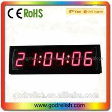 """High 3"""" Brightness 6 digits 7segment LED Digital Clock"""