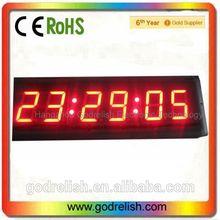 "High 3"" Brightness 6 digits 7segment LED wall Clock light adjustable"