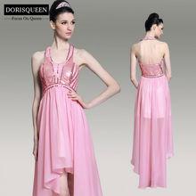 DORSQUEEN Dropshipping beaded halter plus size evening/cocktail knee length pink short evening dress for muslim women