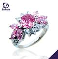 Projeto da flor de formatura jóia de rubi natural. 925 anel de prata esterlina