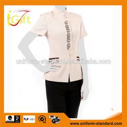 2014 fashion wholesale short sleeve hotel uniform for waitress