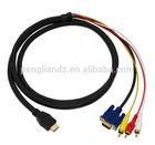 HDMI to VGA 15pin Male 3 RCA Male Composite Converter AV Cable