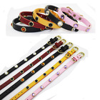 Leather charmed Dog collar,Pet collar with beads decoration