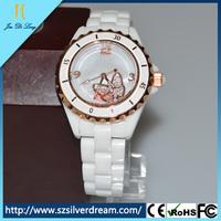 2014 Quartz Movement Ceramic Case Ceramic Band Shell Dial White Butterfly Lady Diamond Watch