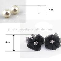 Fashion gold plating unique zinc alloy fabric flower stud earrings