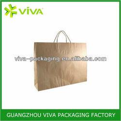 Brown kraft flat handle paper grocery bags