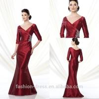 Long Sleeve Burgundy Taffeta Mother Of The Bride Dresses 2014