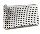 2015 new style ladies PU square hollow design silver cosmetic bag
